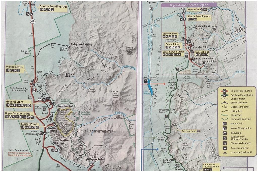 carte bryce canyon